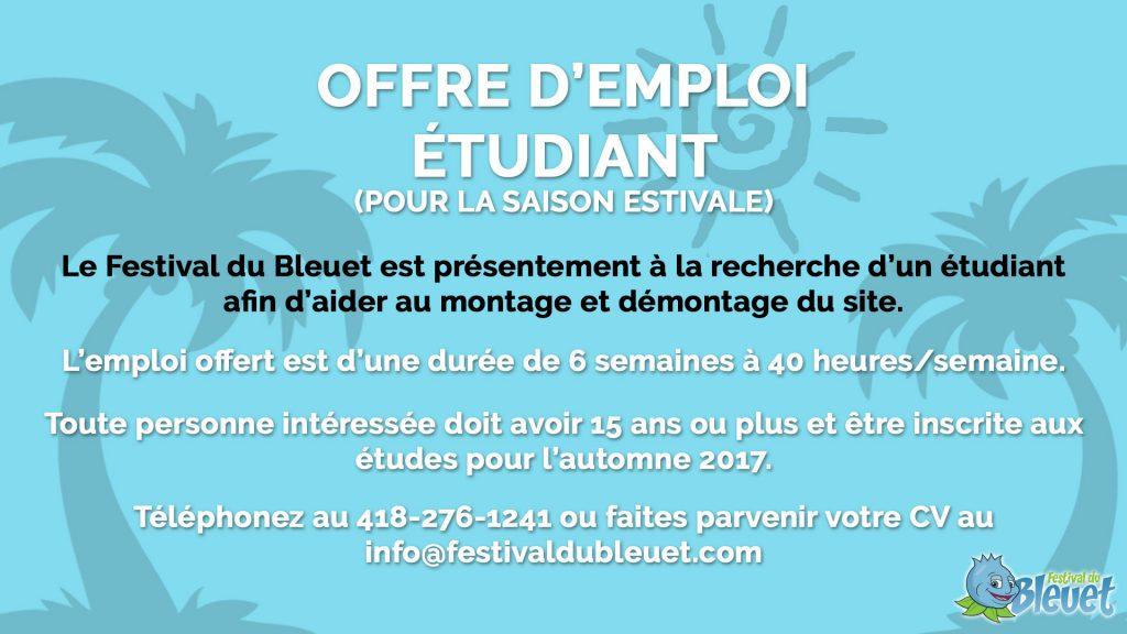 Offre d'emploi étudiant - Festival du Bleuet